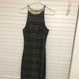 Black lace and gold maxi dress.